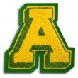 Photograph of School Sports Letter  - Green and Yellow A — Stock Photo