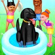 Kids, Dog and Swimming Pool — Stock Photo