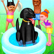 Stock Photo: Kids, Dog and Swimming Pool
