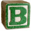 Photograph of Green Wooden Block Letter B — Foto de Stock