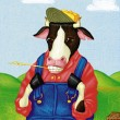 Stock Photo: Illustration of Cow in Coveralls