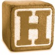 Photograph of Sepia Wooden Block Letter H — Stock Photo