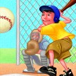 Illustration of Kid Playing Baseball — Stock Photo
