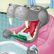 Illustration of Hippo Brushing — Stock Photo