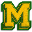 Stock Photo: Photograph of School Sports Letter - Green and Yellow M