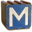 Photograph of Blue Wooden Block Letter M — Stock Photo