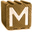 Photograph of Sepia Wooden Block Letter M — Stock Photo