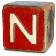 Wooden Block Letter N — Stock Photo