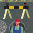 Illustration of Sewer Worker — Stock Photo
