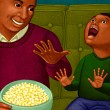 Stock Photo: Illustration of Father and Son Watching Movie