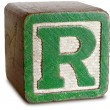 Photograph of Green Wooden Block Letter R — Stock Photo