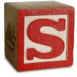 Photograph of Red Wooden Block Letter S — Stock Photo #29376433