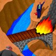 Illustration of Burning Bridge — Stock Photo