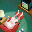 Illustration of Man Wathing TV — Stock Photo