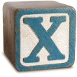 Photograph of Blue Wooden Block Letter X — Stock Photo