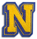 写真の学校スポーツの手紙 - 青し、黄色の n — ストック写真