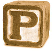 Photograph of Sepia Wooden Block Letter P — Stock Photo