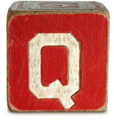 Photograph of Red Wooden Block Letter Q — Stock Photo