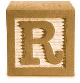Fotografía de color sepia de madera bloque letra r — Foto de Stock