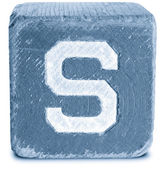 Photograph of Blue Wooden Block Letter S — Стоковое фото
