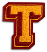 Photograph of School Sports Letter - Burgundy and Gold T — Foto Stock