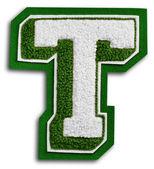 Zdjęcie szkoły sport listu - zielony i biały t — Zdjęcie stockowe