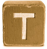 Photograph of Sepia Wooden Block Letter T — Stock Photo