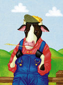 Illustration of Cow in Coveralls — Stock Photo