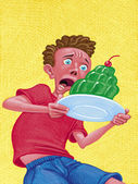 Illustration of Boy With Gelatin Cake — Stock Photo