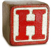 Photograph of Red Wooden Block Letter H — Stock Photo