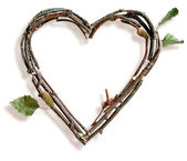 Natural Twig and Stick Heart — 图库照片
