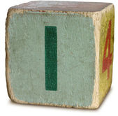 Photograph of Green Wooden Block Letter I — Stock Photo