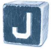 Photograph of Blue Wooden Block Letter J — Stock Photo