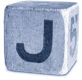 Fotografie modré dřevěné tiskací písmeno j — Stock fotografie