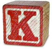 Photographie de la lettre de bloc en bois rouge k — Photo