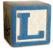 Photograph of Blue Wooden Block Letter L — Stock Photo