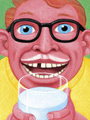Illustration of Man Drinking Milk — Стоковое фото