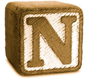 Photograph of Sepia Wooden Block Letter N — Stock Photo