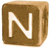 Wooden Block Letter N — Стоковое фото