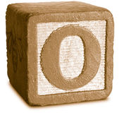 Photograph of Sepia Wooden Block Letter O — Stock Photo