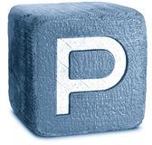 Фотография синий деревянный блок буква P — Стоковое фото