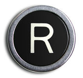 Photograph of Old Typewriter Key Letter R — Stock Photo
