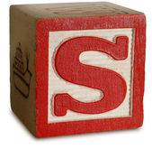Photograph of Red Wooden Block Letter S — Stock Photo