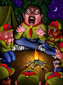 Illustration of Scary Campfire Story — Stock Photo