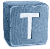 Photograph of Blue Wooden Block Letter T — Stock Photo