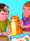 Illustration of Kids Playing With Cat — Stock Photo