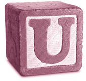 Photograph of Magenta Wooden Block Letter U — Stock Photo