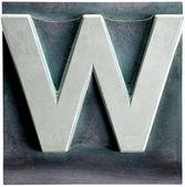 Metal Letterpress Sepia Letter W — Stock Photo