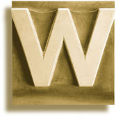 Metal Letterpress Sepia Letter W — Stock Photo