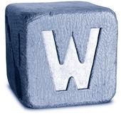 Foto de azul de madera letra w — Foto de Stock